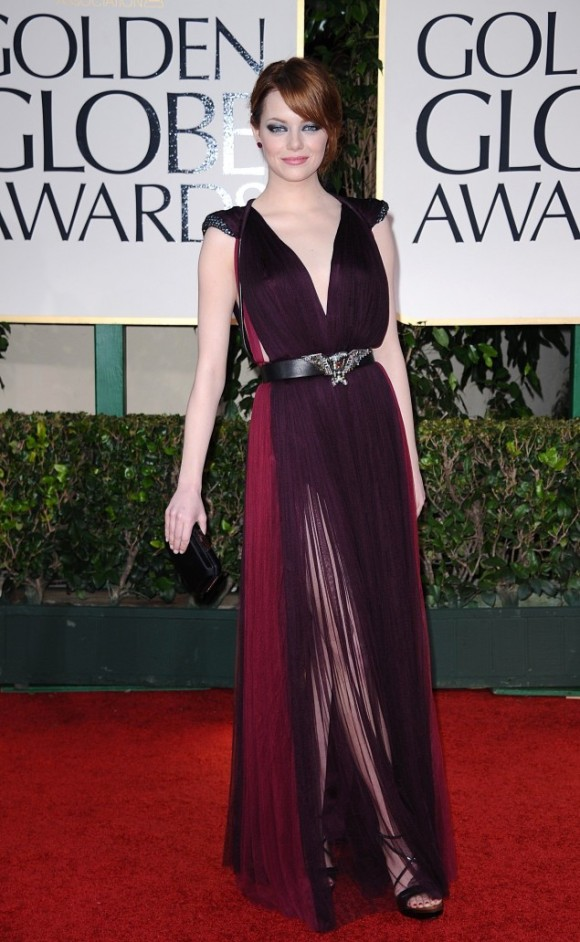 Emma Stone in Lanvin at the Golden Globes--i love love love love this look. from the color combo to the sheer fabric to the bold belt this look is perfection!