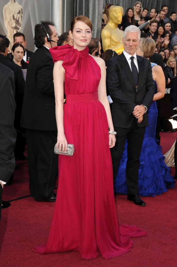 Emma Stone in Giambattista Valli at the Oscars--red on red on red....fearless and interesting