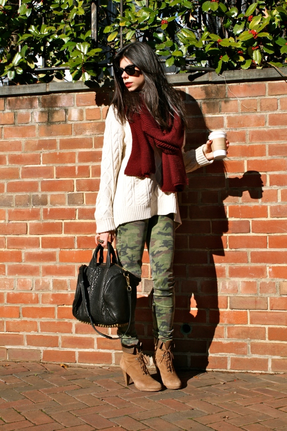 Sweater: J. Crew, last season (similar found here), Pants: Tripp NYC (found here), Scarf: Zara (found here), Boots: J. Crew, old (similar found here), Bag: Alexander Wang (found here)