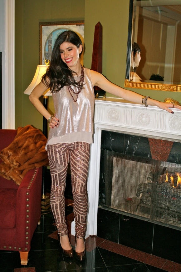 Something about these pieces says 20s to me, yet the pants are unlike anything I've ever seen.  I also had to incorporate a little ombre of sequins and different shades of gold into the look.