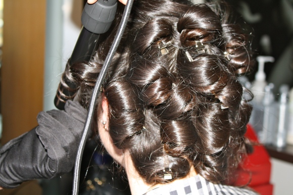 Start curling at the root and work your way down to the ends