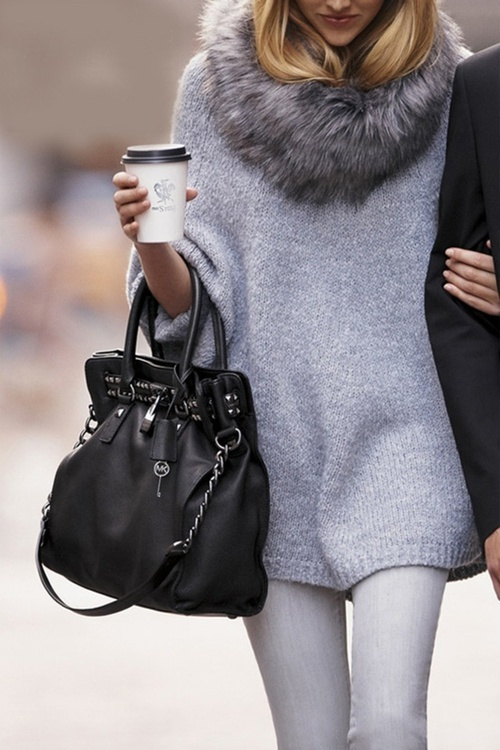 Obsessed with the monochromatic fur stole