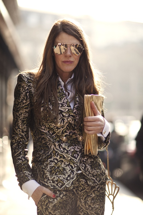 Anna Dello Russo flawless as always in a brocade suit.  ADR, I love you!