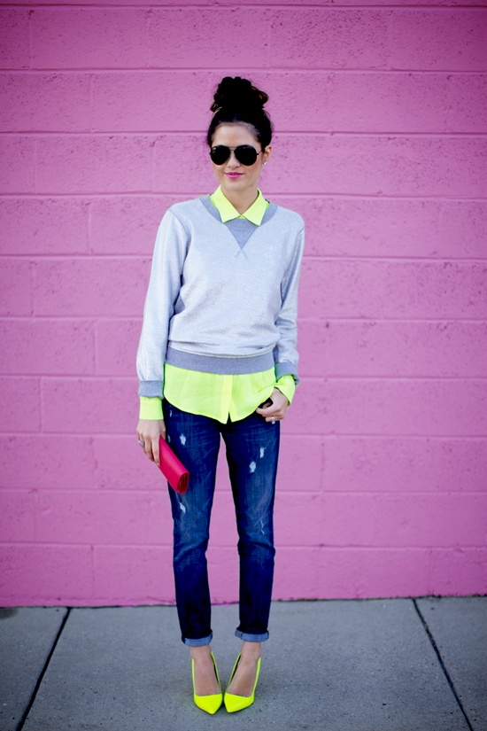 I love this preppy and casual  ensemble.  Neon is one of my favorites and adds much needed light to this dreary weather.