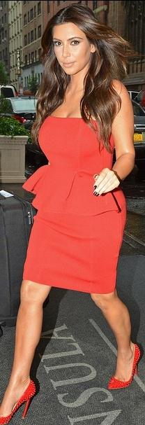 Kim Kardashian rocking monochromatic peplum