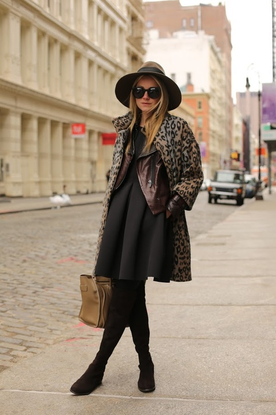 Thigh high boots, a full skirt, leather jacket, and leopard coat, I mean it doesn't get any better than this!