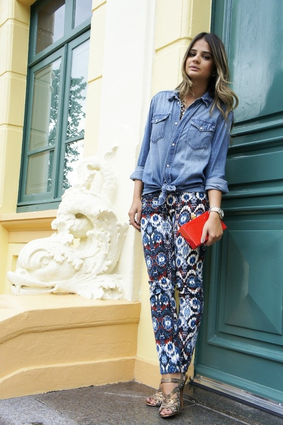 Chambray is the perfect pair for a printed pant!
