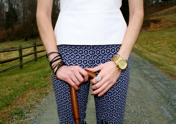 Loud pants don't mean that you can ignore the accessories, which always complete a look.  Right Side: Bracelets: Fornash (found here), Ring: Custom (similar here), Left Side: Watch: Michael Kors (found here), Bracelet: _____ (found here), Ring: Margaret Elizabeth (found here)
