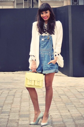 Perfect way to dress up overalls is pairing them with heels, blouse & blazer.  Unexpected and fabulous!