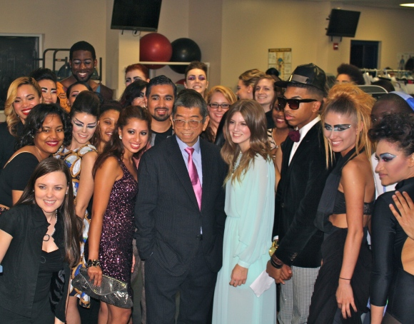Shoji with the Marymount University students before the fashion show.