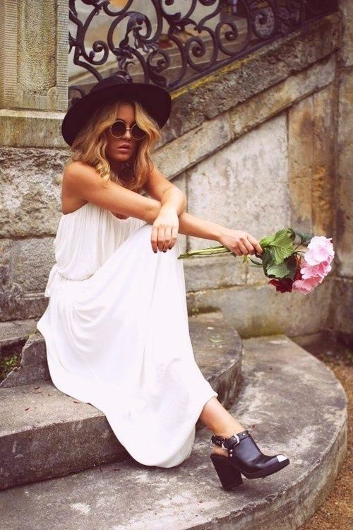 This white maxi is perfect for summer and I love the light dress with chunky boots.