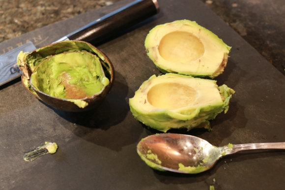 spoon out the avocado